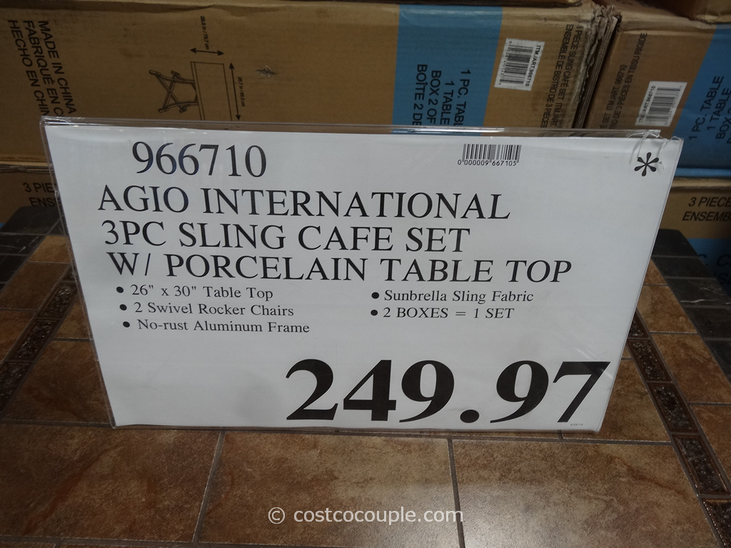 Agio International 3Piece Sling Cafe Set