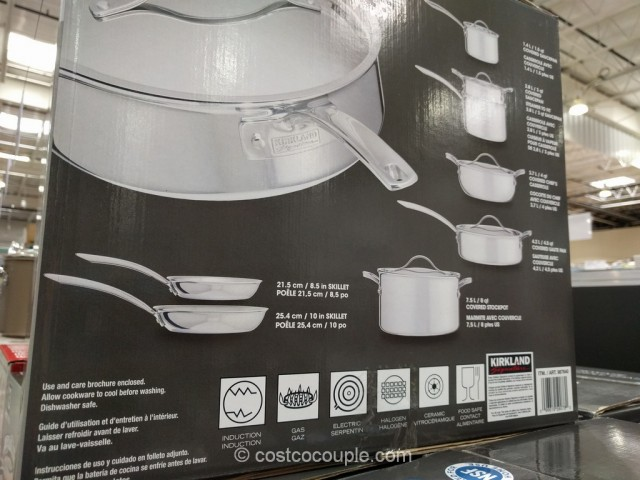 Kirkland Signature 13Piece Stainless Steel TriPly Clad Cookware Set