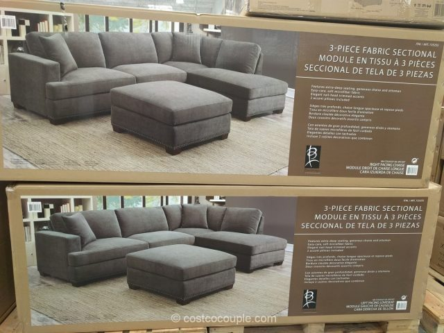 chaise sofa with ottoman costco tufted leather chesterfield bainbridge 3-piece fabric sectional