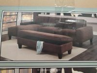 Chaise Sofa with Storage Ottoman