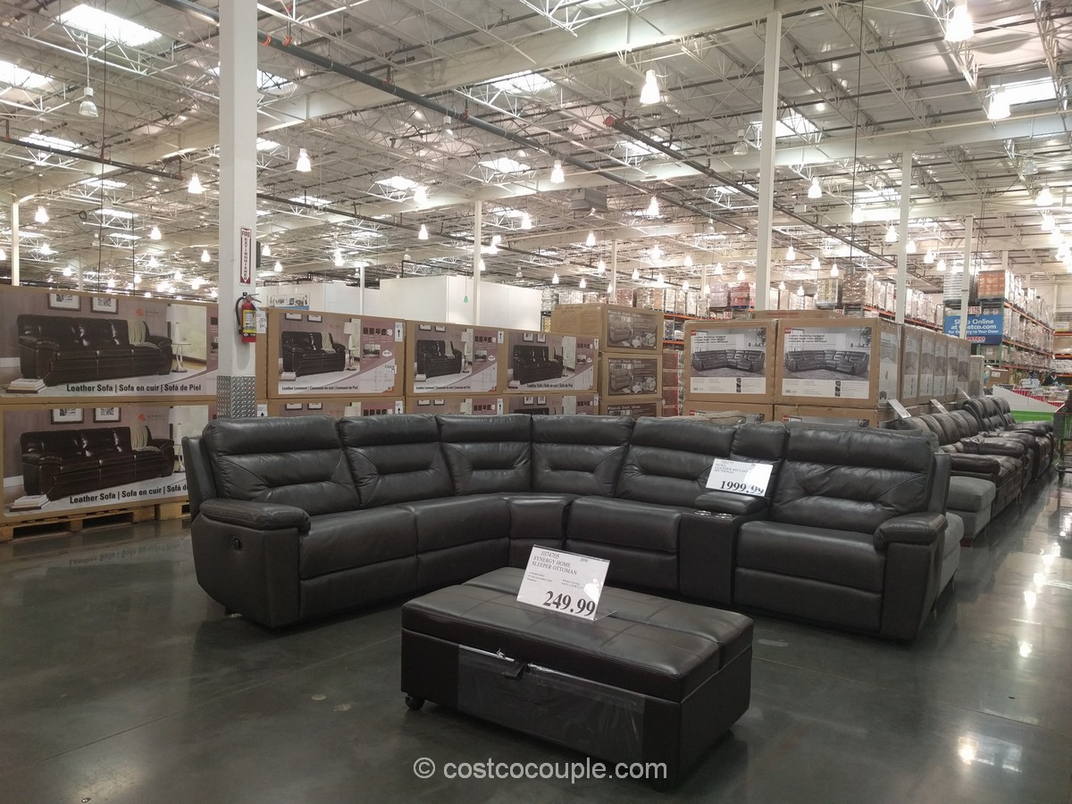 costco fabric reclining sofa pedicsolutions bed memory foam queen mattress marks and cohen taylor 7 piece modular sectional