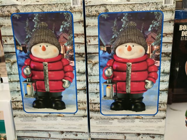 Standing Snowman with LED Lantern