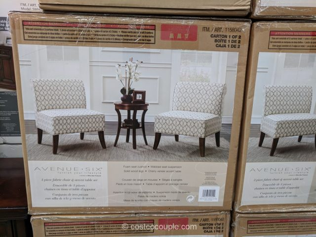 Ave Six 3Piece Fabric Chair and Accent Table Set