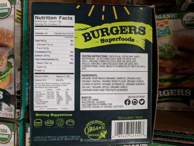Don Lee Farms Organic Superfood Burgers