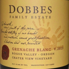 Dobbes Family Estate Crater View Vineyard Rogue Valley Grenache Blanc