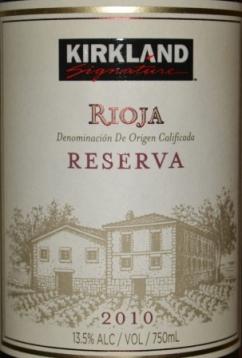 2010 Kirkland Signature Rioja Reserva