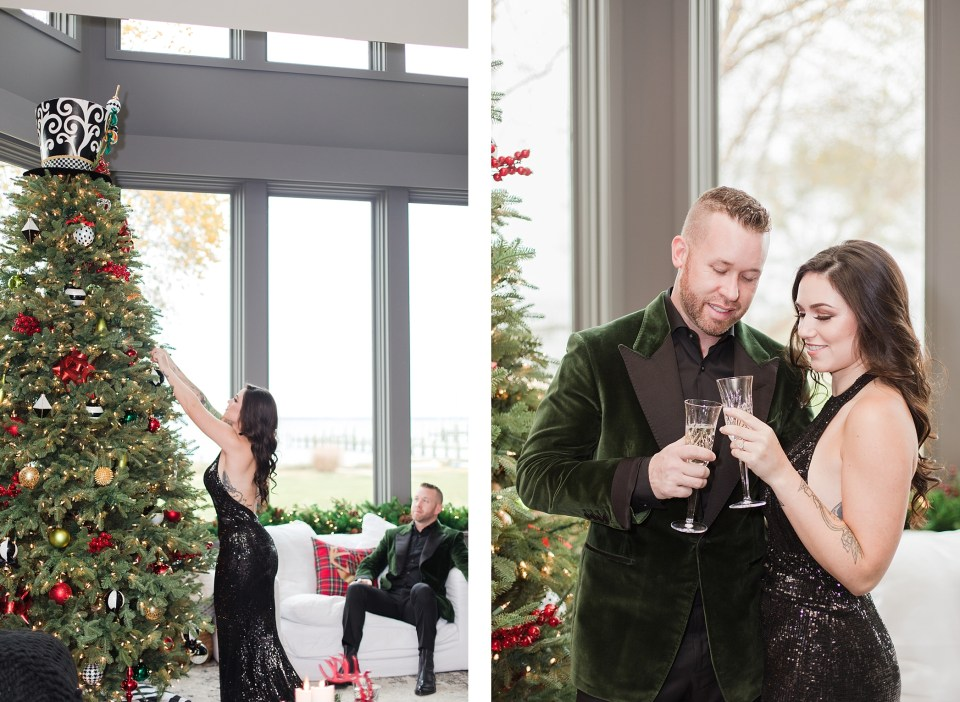 Black & White Christmas Session in Annapolis Home