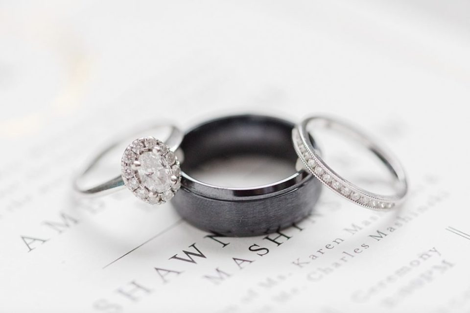 Three Wedding bands on an invitation suite