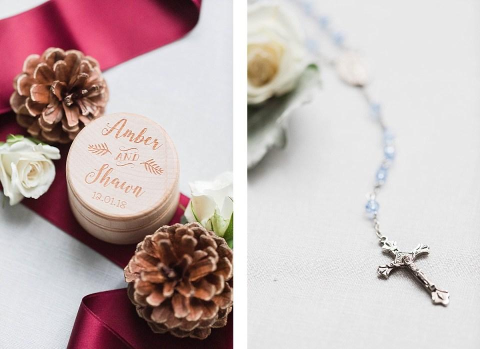 winter wedding rosary and ring box