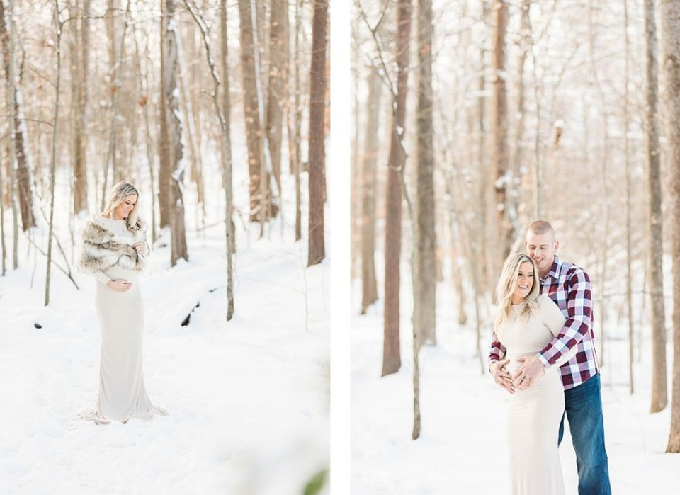 Snowy Lake Side Maternity Session