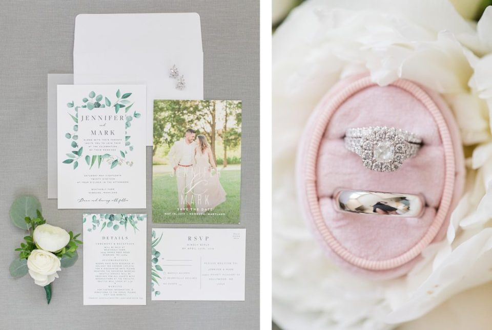 wedding invitation suite at weatherly waterfront farm photography by costola photography