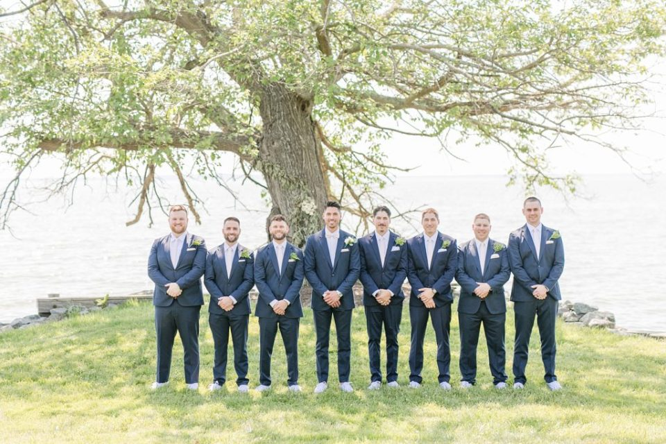 wedding party portraits at southern maryland waterfront venue by costola photography