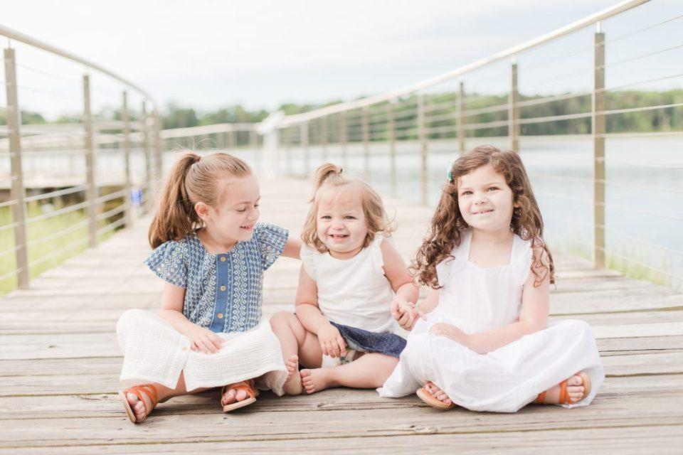 Three little girls at Leonardtown Wharf by Costola Photography