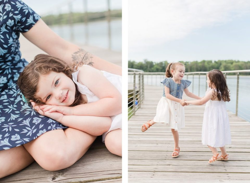 Three little girls at Leonardtown Wharf by Costola Photography