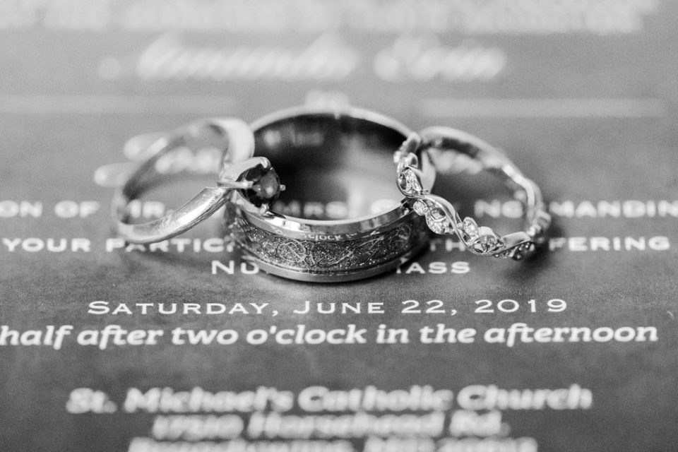 three wedding bands on invitation by costola photography