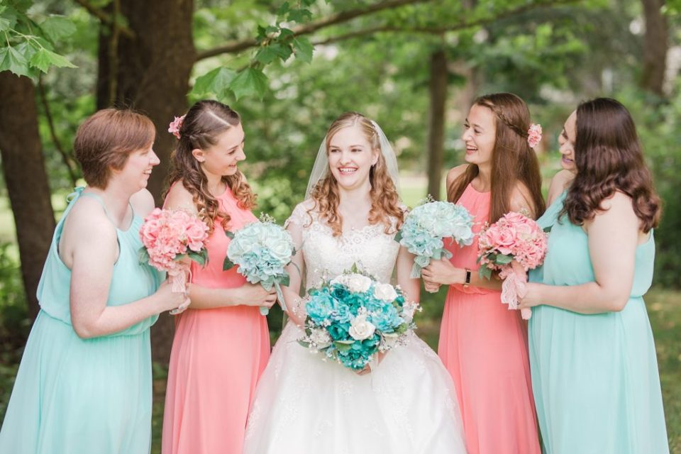 teal and coral wedding bridesmaids by Costola Photography