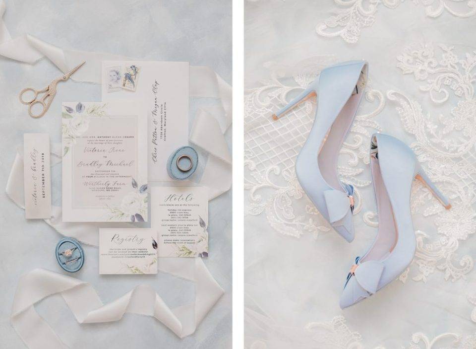 Blue and White wedding shoes and invitations at waterfront weatherly farm wedding by Costola Photography