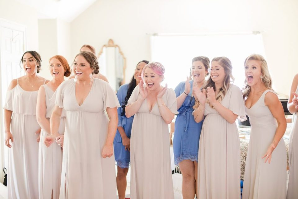 bridesmaids seeing bride for first time at waterfront weatherly farm wedding by Costola Photography