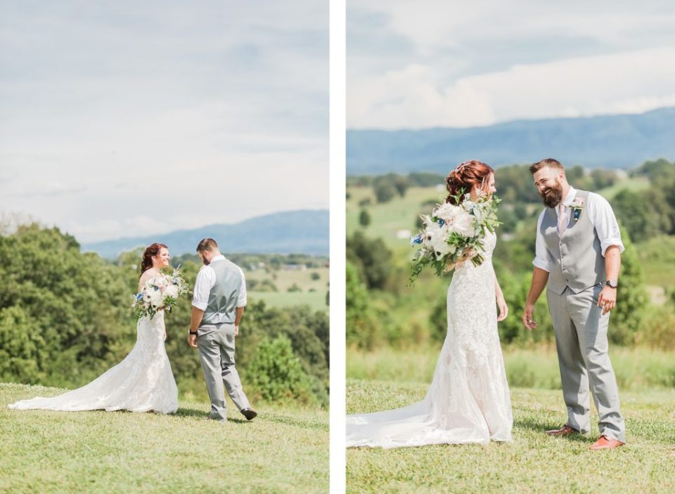 First look overlooking the mountains at The Homeplace at Johnston Farm by Costola Photography