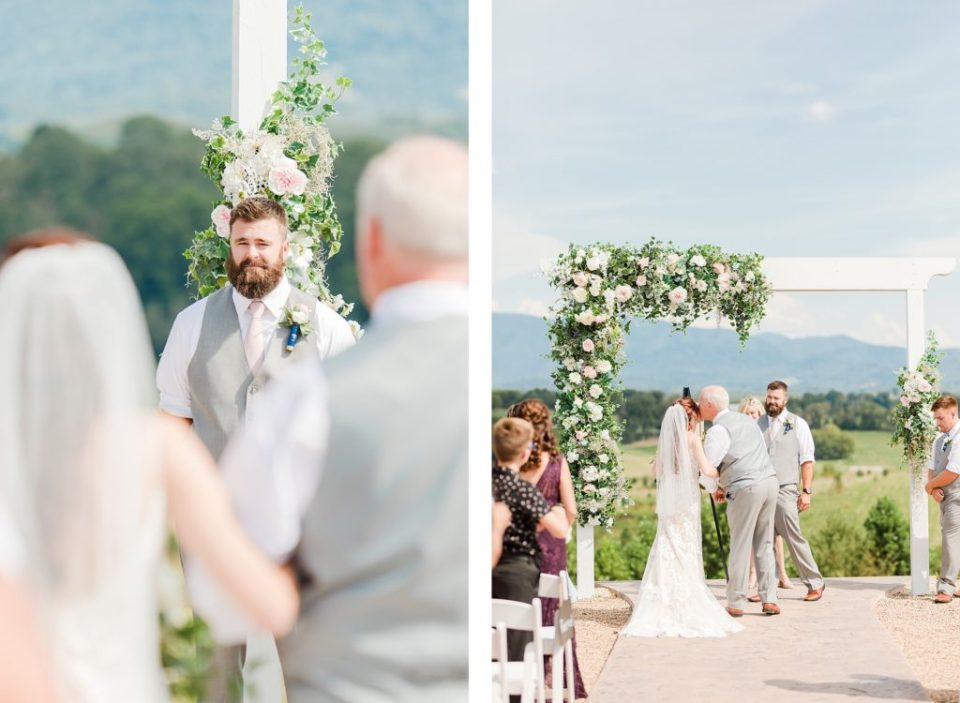 Ceremony overlooking the mountains at The Homeplace at Johnston Farm by Costola Photography