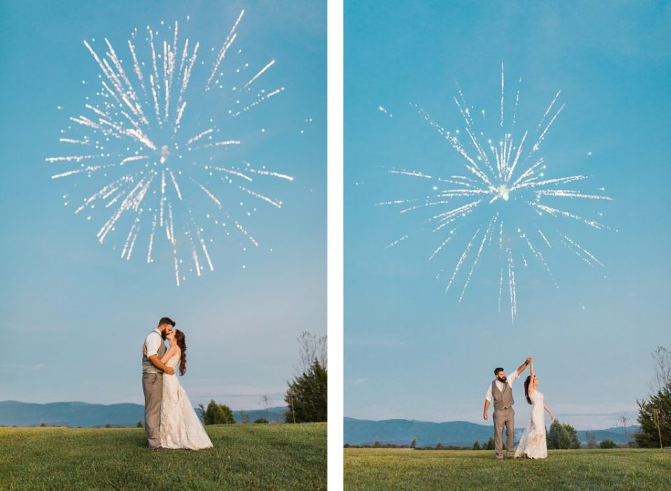 Bride and Groom Kissing with Fireworks at The Homeplace At Johnston Farm by Costola Photography
