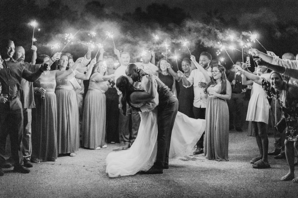 Sparkler Exit at Wicomico River Farm Wedding by Costola Photography