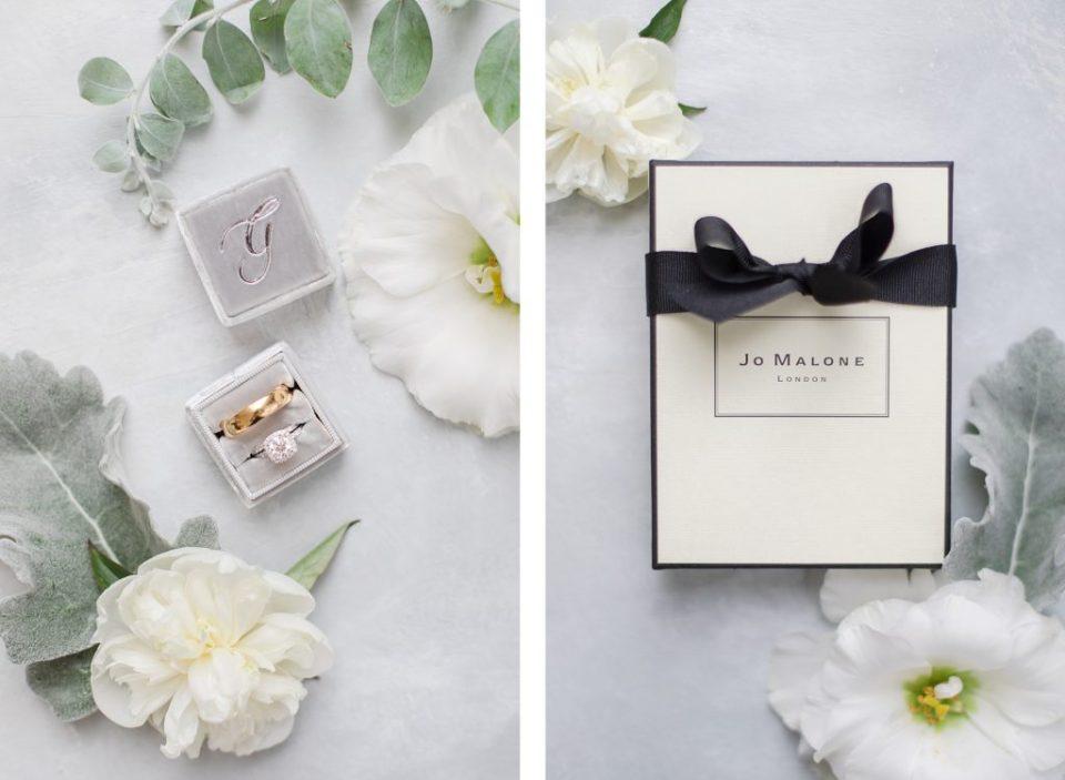 mrs box wedding rings and wedding perfume by Costola Photography