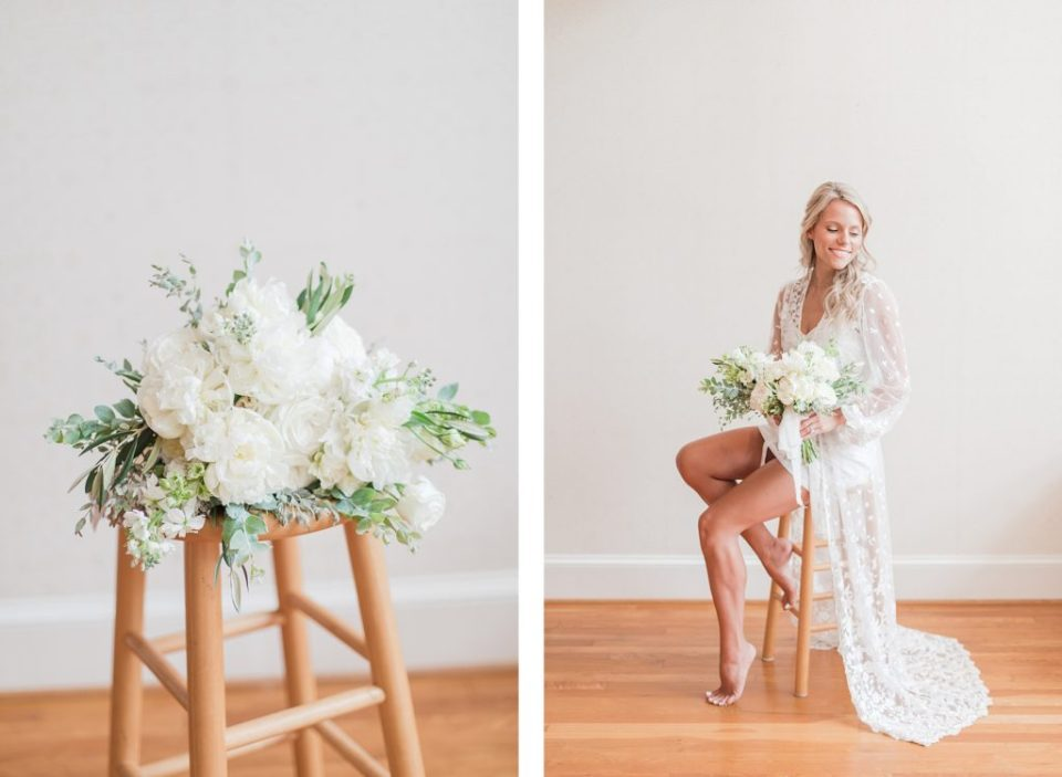 Bride in her robe by Costola Photography
