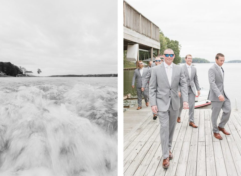 Groom traveling by boat to ceremony by Costola Photography