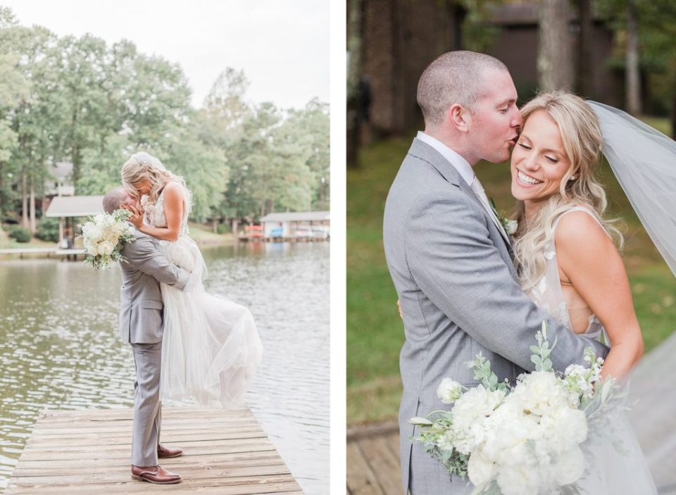 Bride & Groom on Lake Gaston by Costola Photography