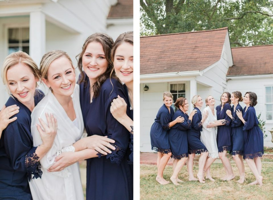 Bridal Party in Robes at Sotterley Plantation Wedding in Southern Maryland by Costola Photography