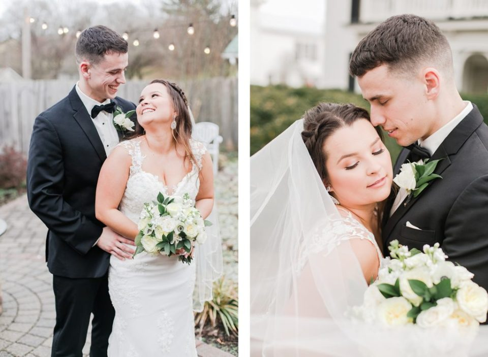 bride and groom for black and white winter wedding at the kyle house by costola photography