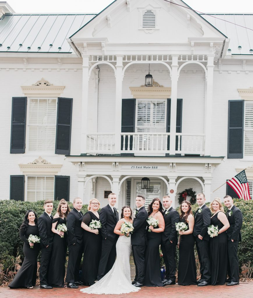 wedding party for black and white winter wedding at the kyle house by costola photography