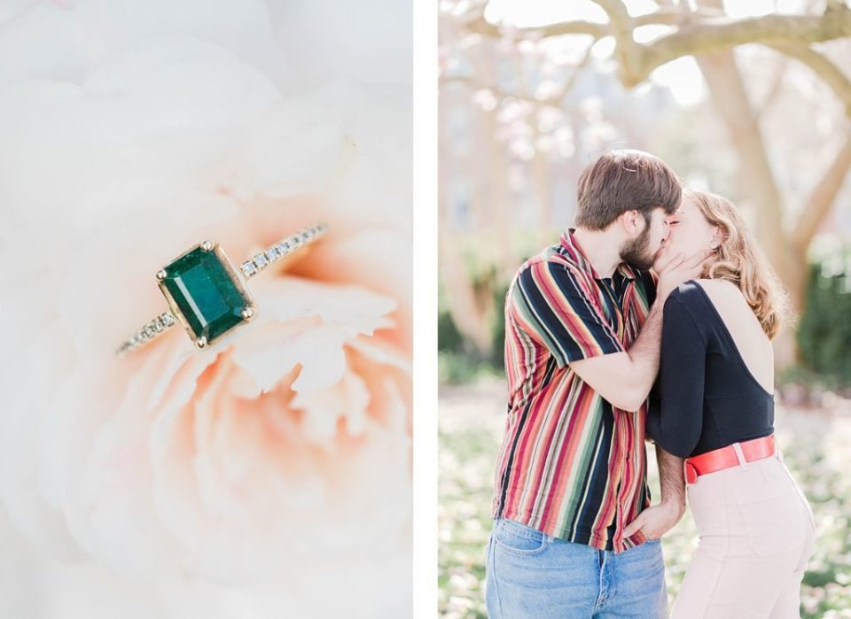 Couple under the blossoms at Historic St Marys City engagement session by Costola photography
