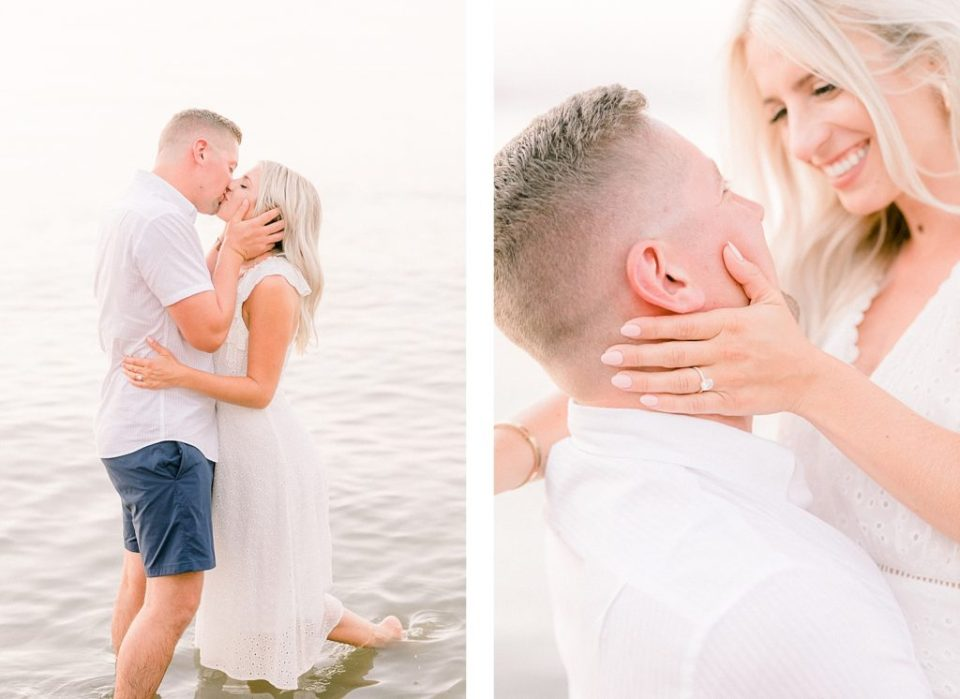 Couple Kissing on the beach at a Romantic Eastern Shore Engagement Session by Costola Photography