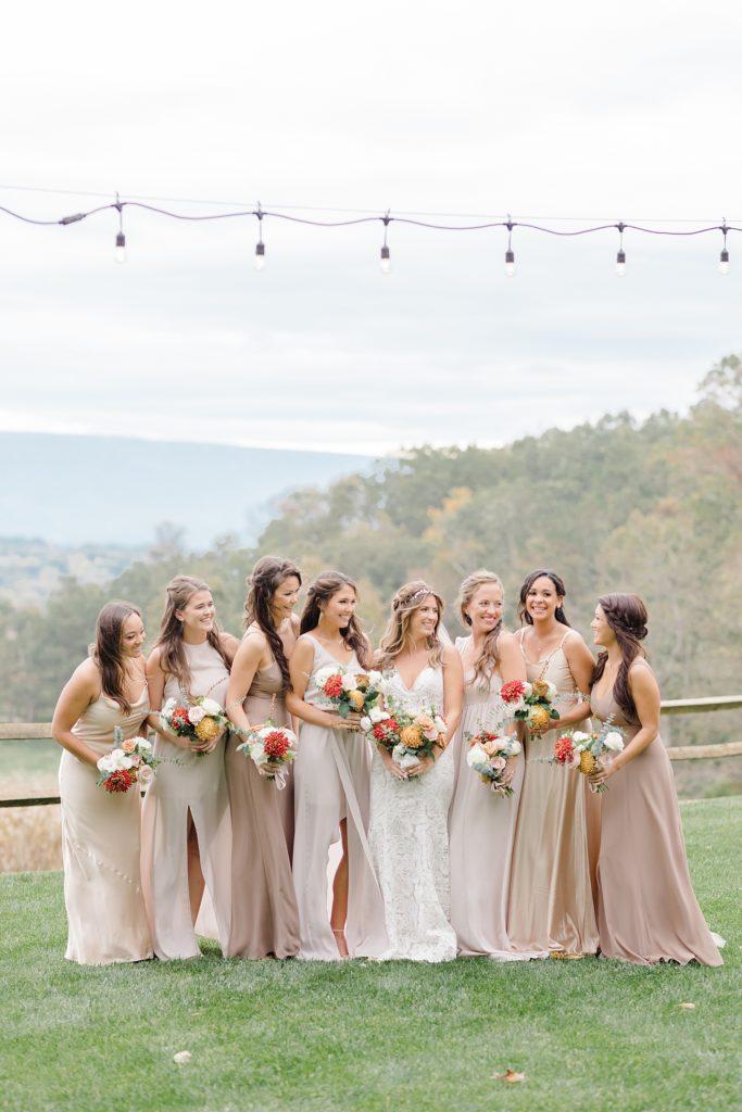 Bridesmaids at Boho Chic Shenandoah Woods Wedding