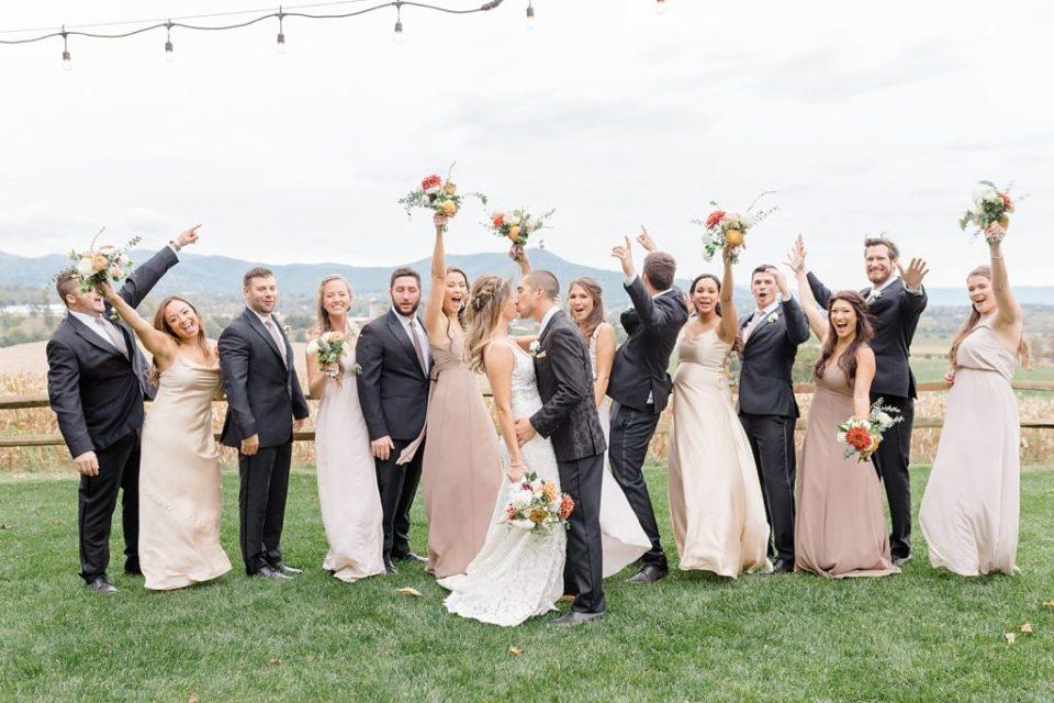 Wedding Party at Boho Chic Shenandoah Woods Wedding