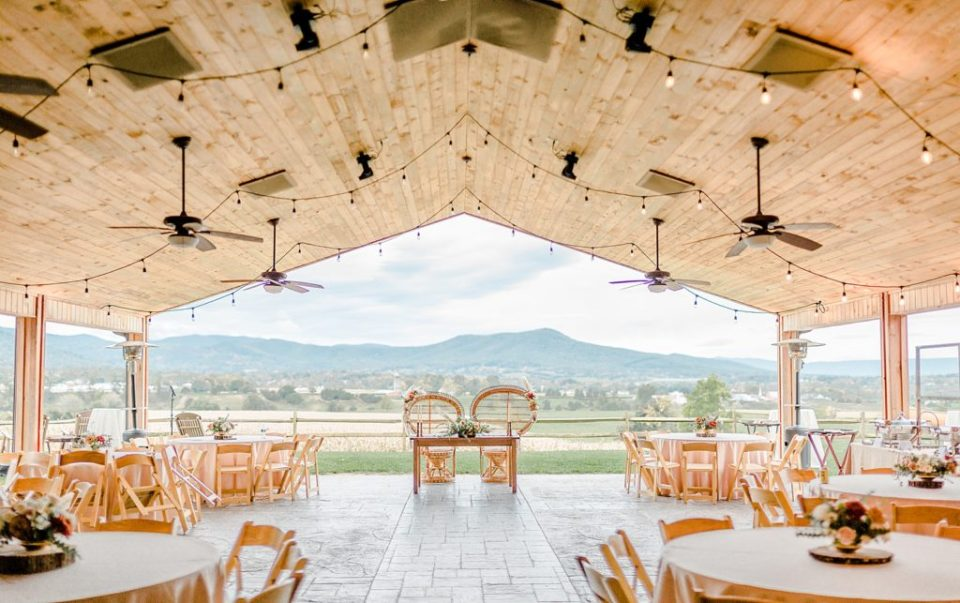 The Pavilion at Boho Chic Shenandoah Woods Wedding