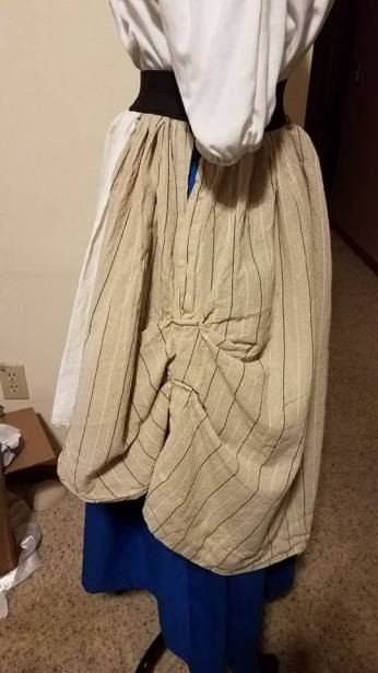 side view of overskirt with slit