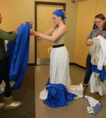 single blue skirt on