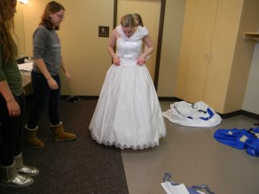 flipping down the bodice front
