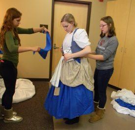 vest on, prepping scarf, Cinderella