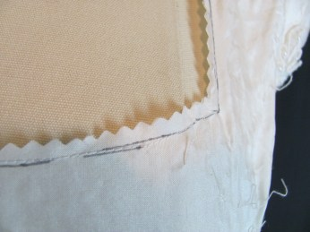 neckline stay-stitched and cut out.