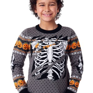 Child Ripped Open Skeleton Halloween Sweater