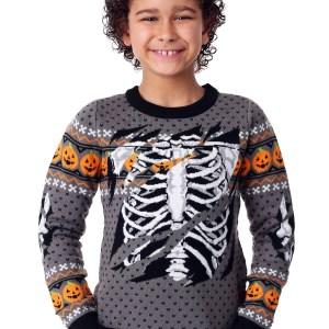 Child Ripped Open Skeleton Halloween Sweater