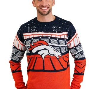 Denver Broncos Light Up Bluetooth Mens Ugly Christmas Sweater