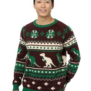 Holiday Dinosaur Ugly Christmas Sweater for Men XS S M L XL XXL XXXL 1X 2X 3X