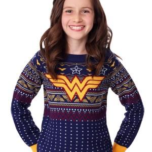 Kids Wonder Woman Navy Ugly Christmas Sweater