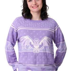 Labyrinth Owl Hi-Lo Ugly Christmas Sweater for Women XS-3X