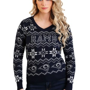 Los Angeles Rams Light Up V-Neck Bluetooth Sweater for Women